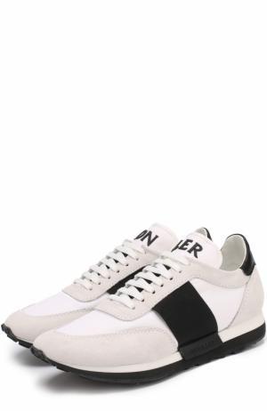 Комбинированные кроссовки на шнуровке Moncler. Цвет: белый