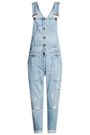 Полукомбинезон oodji. Цвет: голубой, джинса