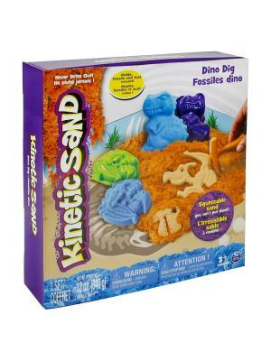 Песок для лепки Kinetic Sand. Игровой набор c формочками, 340 грамм динозавры SPIN MASTER. Цвет: голубой