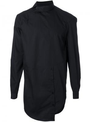 Стилизованная асимметричная рубашка Icosae. Цвет: чёрный