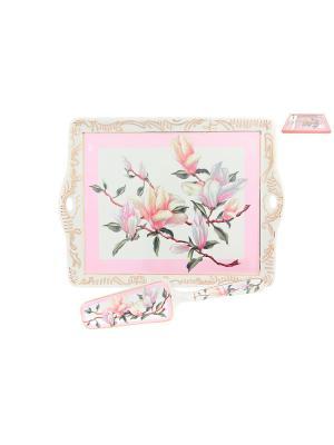 Поднос Орхидея на розовом Elan Gallery. Цвет: белый, розовый