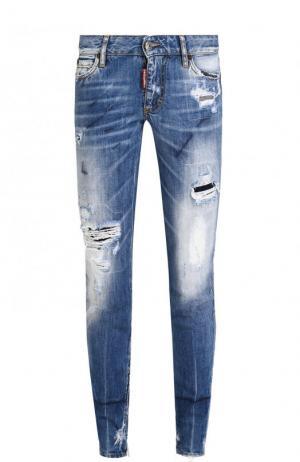 Укороченные зауженные джинсы с потертостями Dsquared2. Цвет: голубой