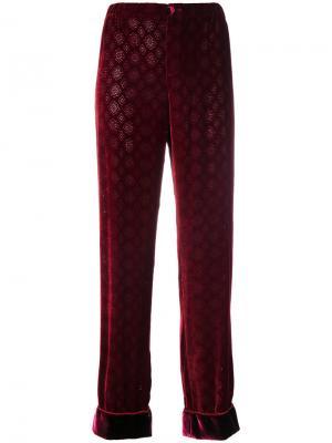 Бархатные брюки с тисненым узором F.R.S For Restless Sleepers. Цвет: красный