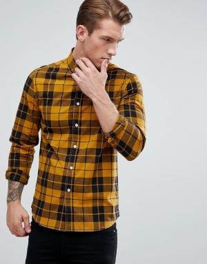 ASOS Эластичная приталенная рубашка из поплина горчичного цвета DESIGN. Цвет: желтый