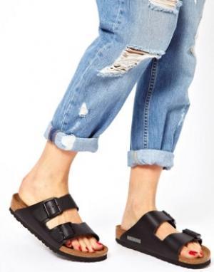 Birkenstock Узкие черные сандалии с двумя кожаными ремешками Arizona. Цвет: черный