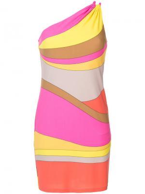 Платье в полоску с открытыми плечами Trina Turk. Цвет: многоцветный
