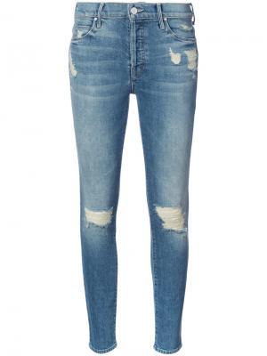 Узкие джинсы с протертостями Mother. Цвет: синий