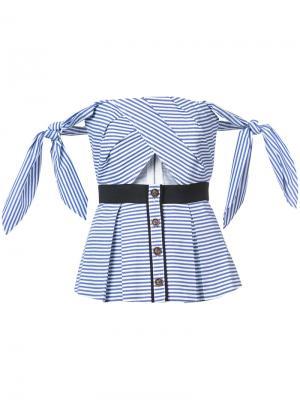 Полосатая блузка с открытыми плечами Self-Portrait. Цвет: синий