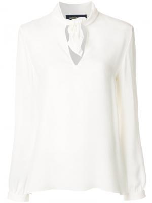 Блузка с узлом на воротнике Vanessa Seward. Цвет: белый