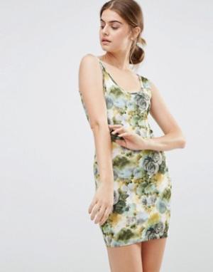 Jasmine Облегающее платье с цветочным принтом. Цвет: зеленый