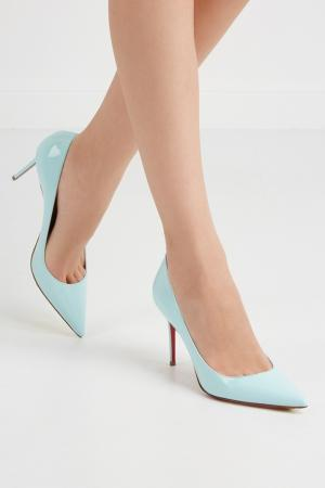 Туфли из лакированной кожи Decollete 85 Christian Louboutin. Цвет: голубой