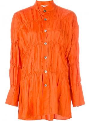 Рубашка с присборенной отделкой Issey Miyake Vintage. Цвет: жёлтый и оранжевый