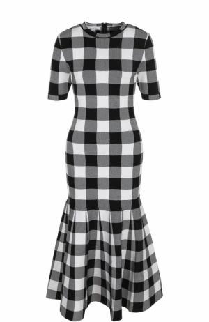 Приталенное платье-миди в клетку Oscar de la Renta. Цвет: черно-белый