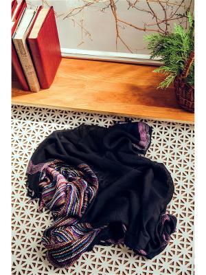 Яркий платок с плетеной фактурой и бахромой, 93 x см. Nothing but Love. Цвет: черный, белый, розовый