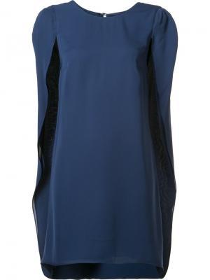Короткое платье-кейп Halston Heritage. Цвет: синий