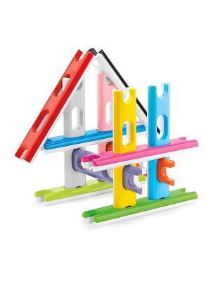 Строительный конструктор для самых маленьких Quercetti. Цвет: красный, желтый, белый, черный, синий, зеленый
