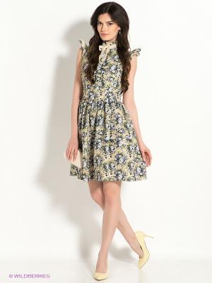 Платье TuttoBene. Цвет: кремовый, синий, зеленый