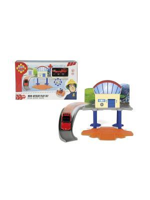 Пожарный Сэм, Маленький морской гараж+1 машинка, 1/8 Dickie. Цвет: серый, желтый, синий