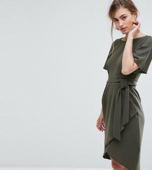 Closet London Платье с рукавами‑кимоно и поясом. Цвет: зеленый