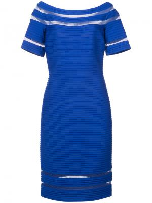 Приталенное платье в рубчик Tadashi Shoji. Цвет: синий