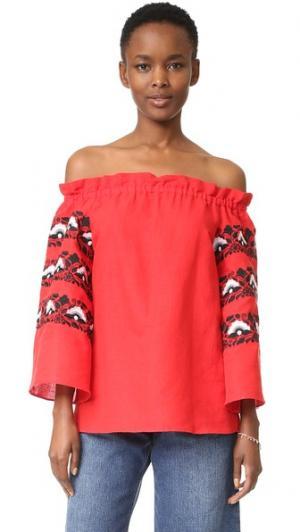 Топ с открытыми плечами и вышивкой ONE by LAZULI. Цвет: ярко-красный