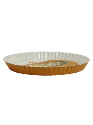 Форма для пирога с керамическим покрытием 28 х28 х 3.2 см МФК. Цвет: светло-коричневый, кремовый