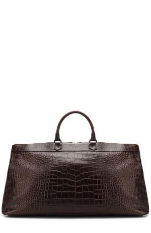 Кожаная дорожная сумка с плечевым ремнем Serapian. Цвет: темно-коричневый