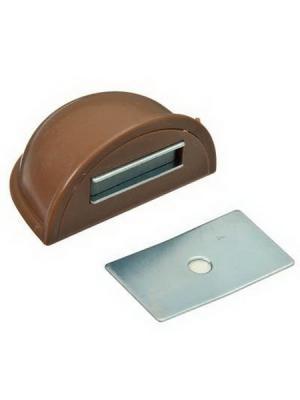 Стопор дверной, магнитный пластик, металл, 2,5х5см, коричневый KONONO. Цвет: коричневый