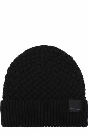Шерстяная шапка фактурной вязки Canada Goose. Цвет: черный
