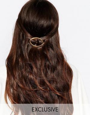 DesignB London Заколка для волос. Цвет: золотой