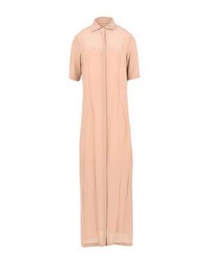 Длинное платье BARBA Napoli. Цвет: светло-коричневый