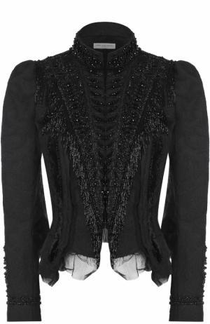 Жакет с рукавом-фонарик и декоративной вышивкой Dries Van Noten. Цвет: черный
