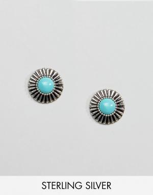 Kingsley Ryan Серебряные серьги‑гвоздики с бирюзой. Цвет: серебряный