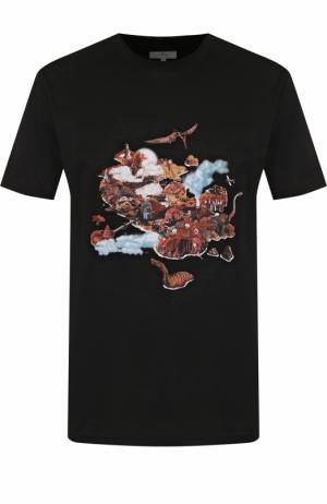 Хлопковая футболка с принтом Lanvin. Цвет: черный