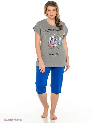 Пижама PELICAN. Цвет: синий, серый меланж