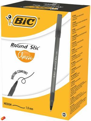 Ручка шариковая BIC Round Stic черная, 60 штук. Цвет: черный