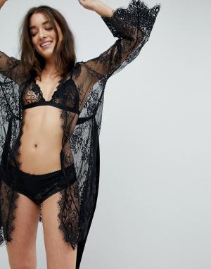 Ann Summers Черный кружевной халат Sascha. Цвет: черный