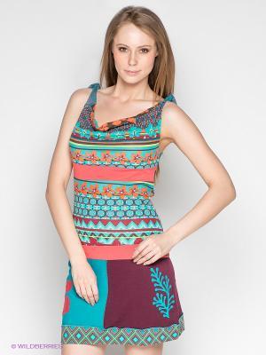 Платье Coline. Цвет: коралловый, бирюзовый