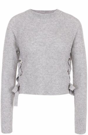 Кашемировый пуловер фактурной вязки со шнуровкой FTC. Цвет: серый