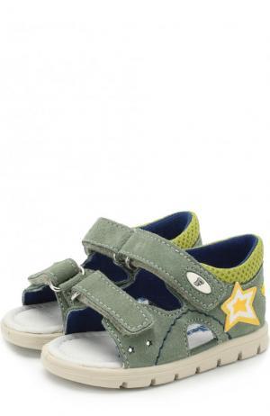 Замшевые сандалии с застежками велькро Falcotto. Цвет: хаки