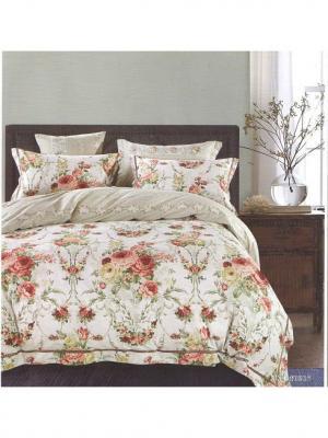 Комплект постельного белья ROMEO AND JULIET. Цвет: светло-зеленый, бежевый, темно-красный