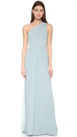Драпированное вечернее платье с открытым плечом Monique Lhuillier Bridesmaids. Цвет: голубой