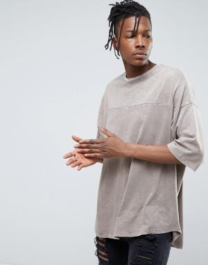 ASOS Оверсайз-футболка из фактурного меланжевого трикотажа. Цвет: коричневый