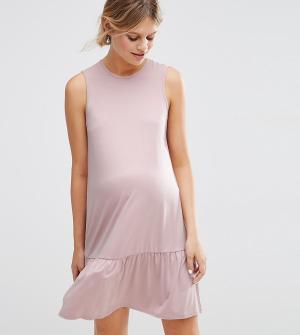 ASOS Maternity Цельнокройное платье с баской для беременных. Цвет: розовый