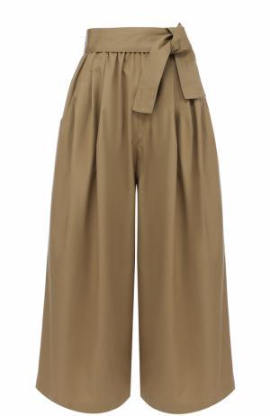Укороченные широкие брюки с поясом Tome. Цвет: бежевый