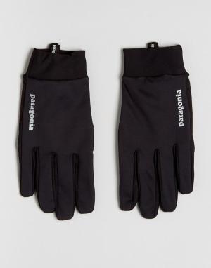 Patagonia Черные ветрозащитные перчатки. Цвет: черный