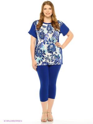 Комплект: футболка, капри Milana Style. Цвет: синий