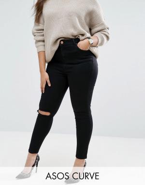 ASOS Curve Черные рваные джинсы скинни Ridley. Цвет: черный