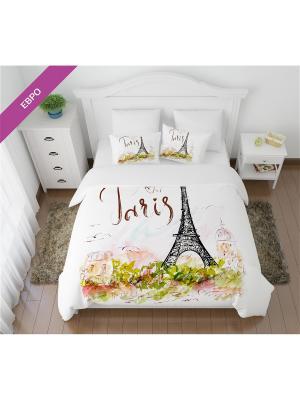 Постельное белье ЕВРО, Кпб Открытка из Парижа Сирень. Цвет: белый, светло-зеленый, черный