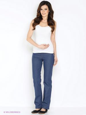 Брюки для беременных под джинсу с начесом 40 недель. Цвет: синий